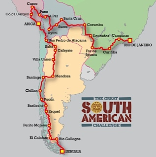 Map of the Route through South America